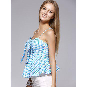 Fashionable Spaghetti Strap Bowknot Flounce Lattice Top For Woman - MEDIUM BLUE MEDIUM BLUE