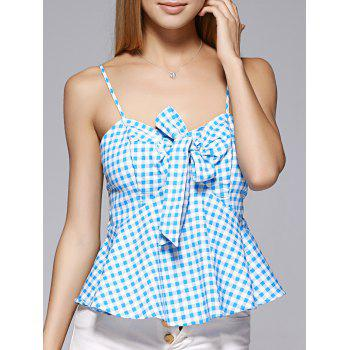 Fashionable Spaghetti Strap Bowknot Flounce Lattice Top For Woman