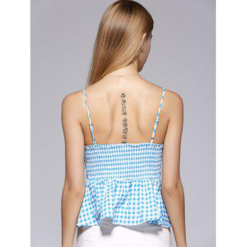 Mode Spaghetti Strap bowknot Flounce Lattice Top For Woman - Moyen Bleu L