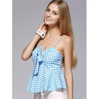 Mode Spaghetti Strap bowknot Flounce Lattice Top For Woman - Moyen Bleu S
