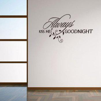 Stylish Letters Leaves Design Home Decoration Wall Art Sticker