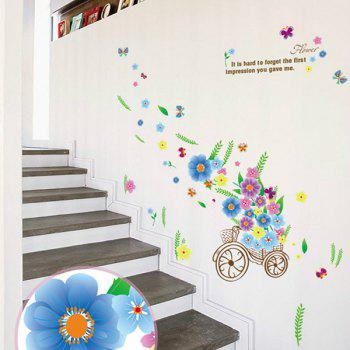 Romantic Flower Bicycle Letters Design Decoration Wall Art Sticker