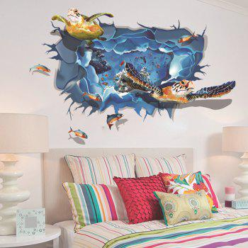 Stylish 3D Design Underwater World Turtle Fish Pattern Wall Art Sticker