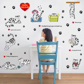 Kitten Footprint Pattern Decorative DIY Wall Art Sticker