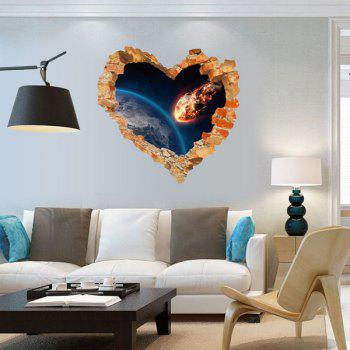 Personality 3D Broken Wall Space Scenery Heart Shape Wall Art Sticker