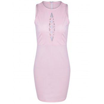 Fashionable Women's Fitted Scoop Neck Openwork Dress