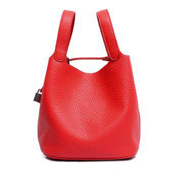 Concise Lock and Solid Color Design Women's Tote Bag