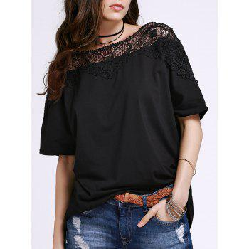 Stylish Round Neck Short Sleeve Cut Out Lace Spliced Women's T-Shirt