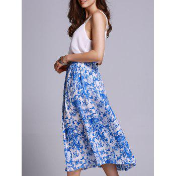 Stylish High Waisted Blue Floral Print Women's Skirt