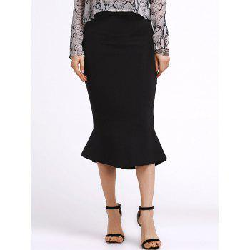Stylish Black Flounce Mermaid Women's Skirt