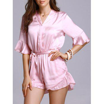 Fashion V-Neck Flare Sleeve Belted Satin Romper For Women