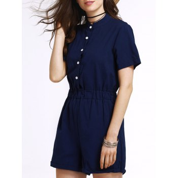 Stylish Stand Neck Short Sleeve Single-Breasted Solid Color Women's Romper