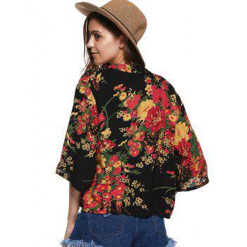 Collarless Floral Cardigan Short Kimono - RED RED