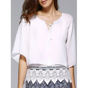 Trendy Round Collar Hollow Out Pure Color Lace Spliced Women's Blouse - WHITE WHITE