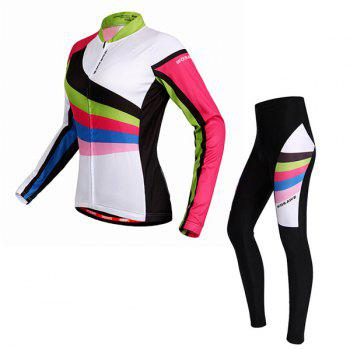 High Quality Breathable Long Sleeve Jersey + Pants Outdoor Cycling Suits For Women - COLORMIX M