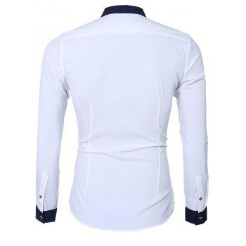 Color Block Splicing design col rabattu manches longues hommes  's Shirt - Blanc L