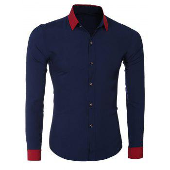 Color Block Splicing Design Turn-Down Collar Long Sleeve Men's Shirt - CADETBLUE 2XL