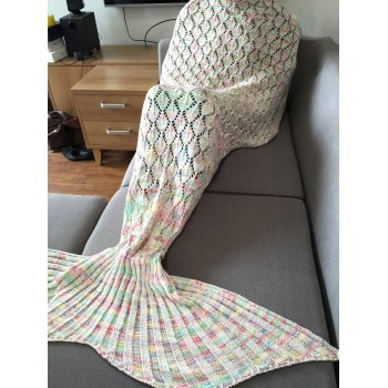 Chic Quality Colorful Hollow Out Mermaid Tail Design Knitting Blanket For Adult - COLORMIX COLORMIX