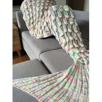 Fashionable Fish Scale Shape Mermaid Tail Design Knitting Blanket For Adult - COLORMIX COLORMIX