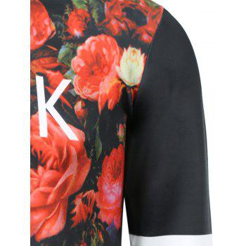 Men's Stylish Round Collar Flowers Printed Sweatshirt - COLORMIX M