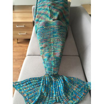 Super Soft Crochet Knitted Fashion Mermaid Tail Shape Blanket For Adult - BLUE