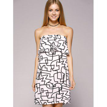 Fashionable Wrapped Chest Back Out Flounce Dress For Woman - WHITE/BLACK S