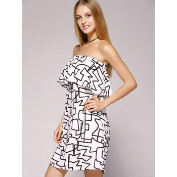 Fashionable Wrapped Chest Back Out Flounce Dress For Woman - WHITE/BLACK XL