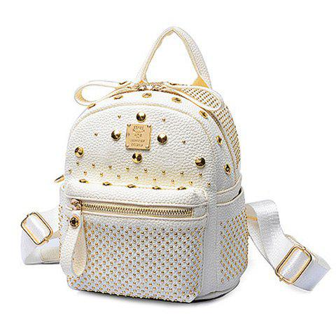 Trendy Metal and Rivets Design Women's Backpack - OFF WHITE