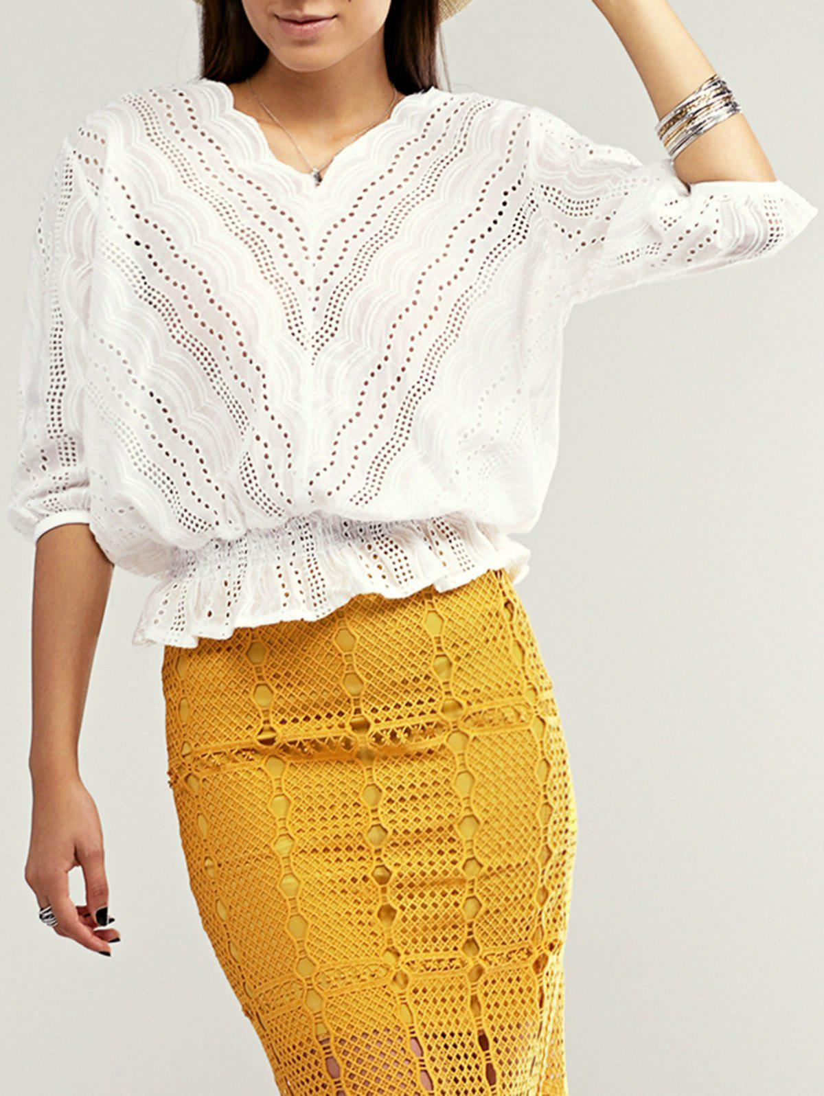 Cutout Scalloped Peplum Blouse - WHITE ONE SIZE(FIT SIZE XS TO M)