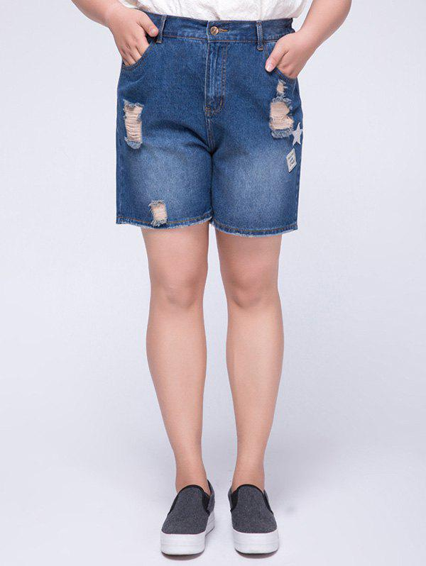 Stylish Plus Size High Waist Appliqued Ripped Women's Shorts - BLUE 5XL