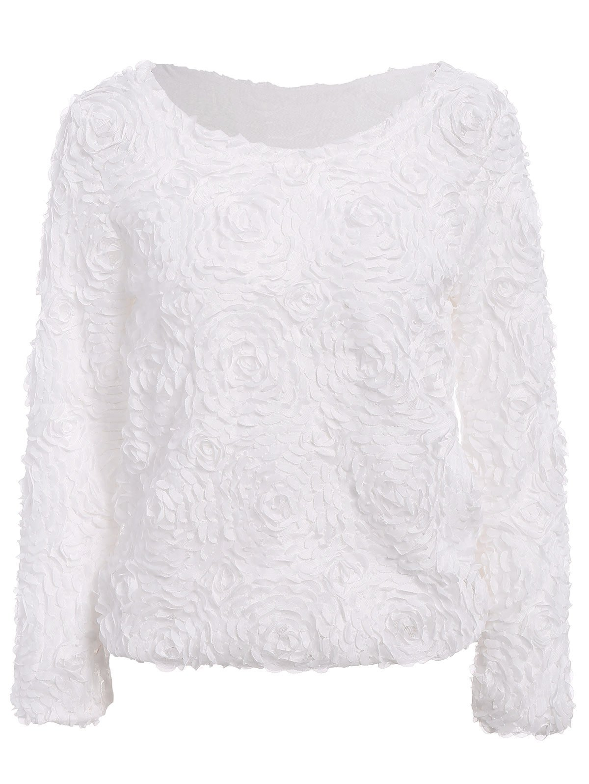 Fresh Style Solid Color Boat Neck 3D Rose Shape Long Sleeve Chiffon Blouse For Women - WHITE ONE SIZE(FIT SIZE XS TO M)