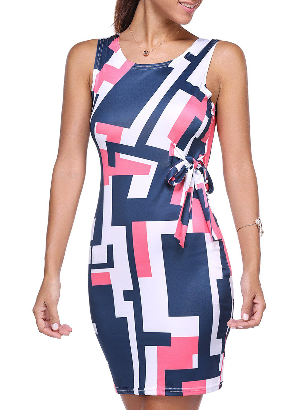 Sleeveless Self Tie Colorized Print Dress - COLORMIX XL