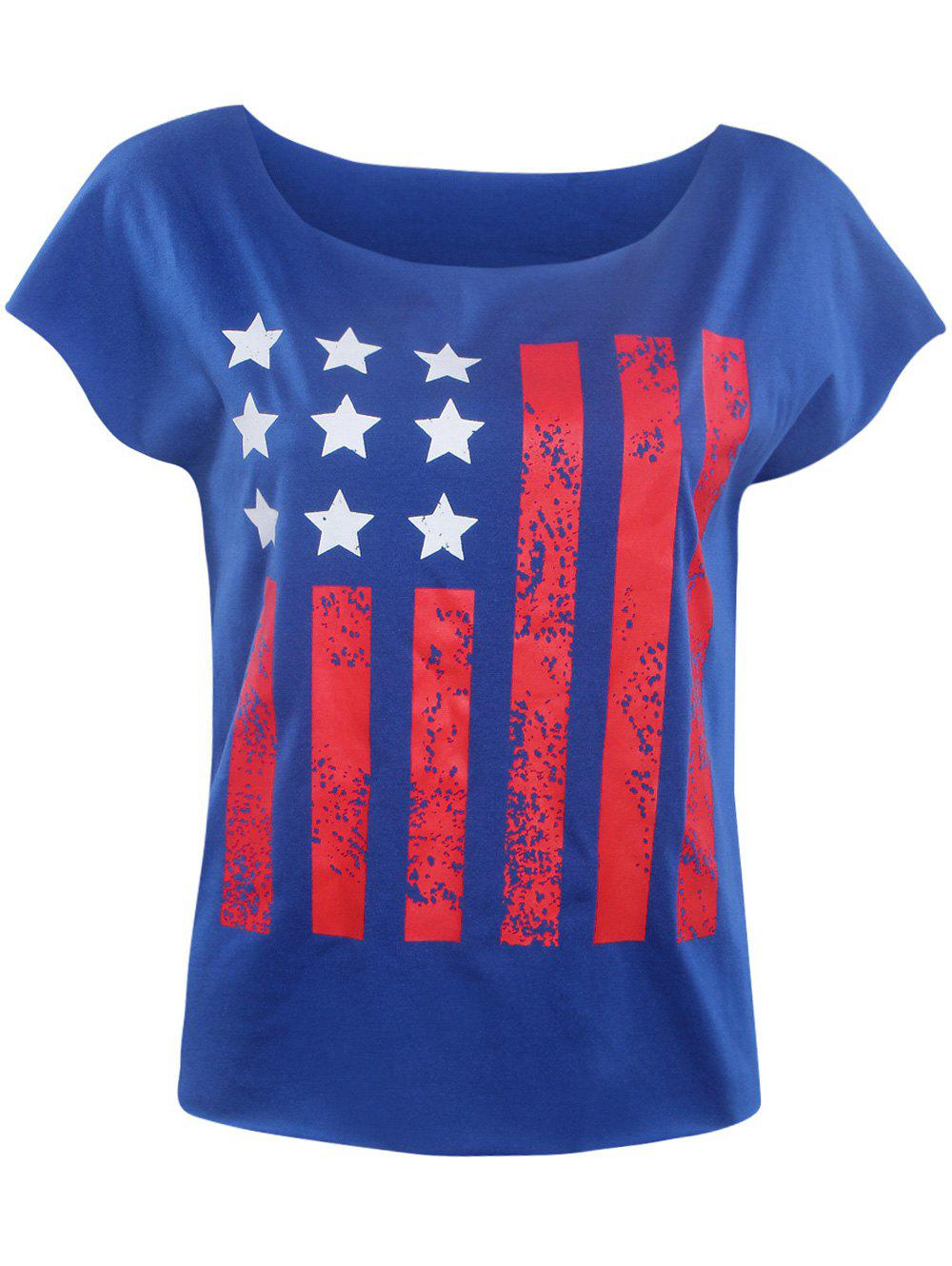 Stylish Slash Neck Star Striped Print Women's T-Shirt