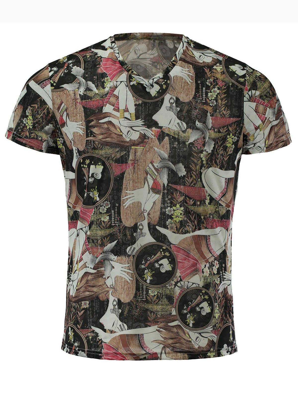Men's Stylish Short Sleeves V-Neck Women Printed T-Shirt - COLORMIX M