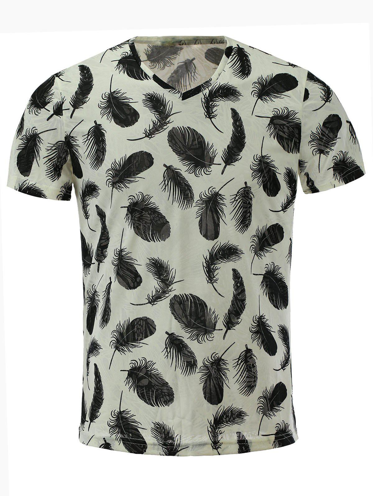Men's Stylish Short Sleeves V-Neck Feather Printed T-Shirt - COLORMIX M