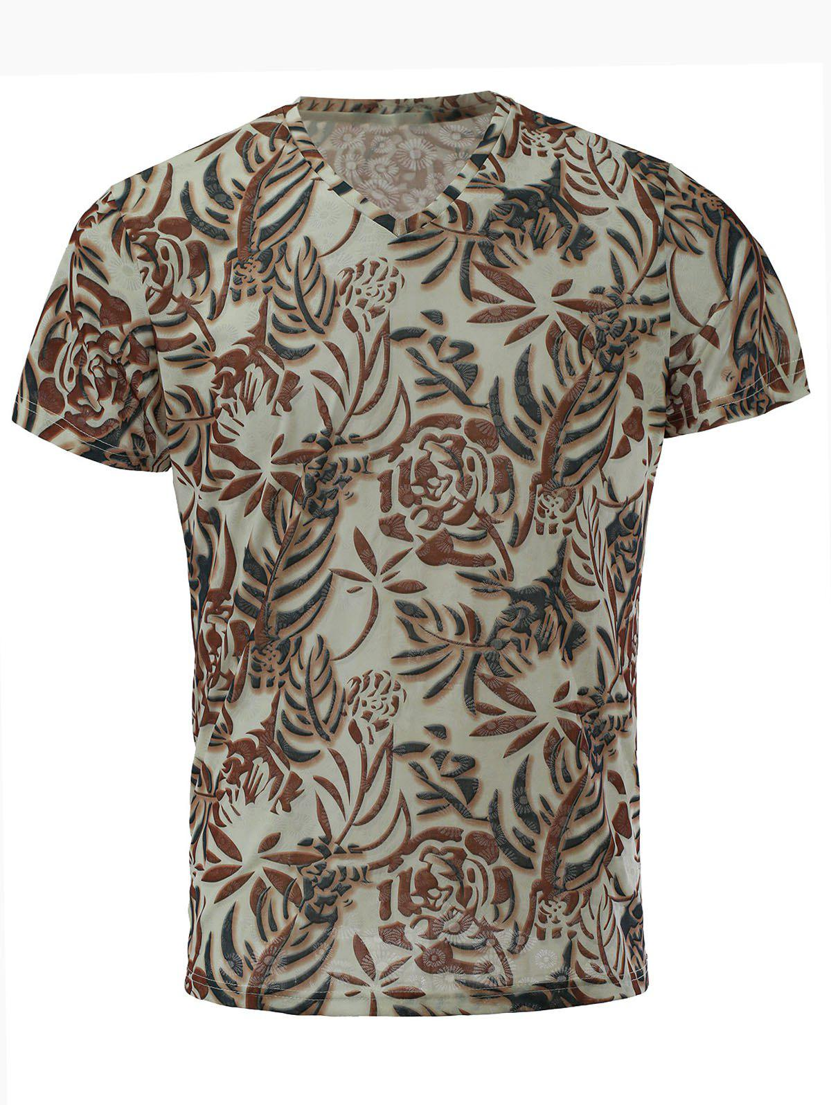 Men's Stylish Short Sleeves V-Neck Plant Printed T-Shirt - COLORMIX M