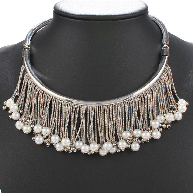 Ethnic Style Faux Pearl Pendant Fringed Embellished Torque - SILVER