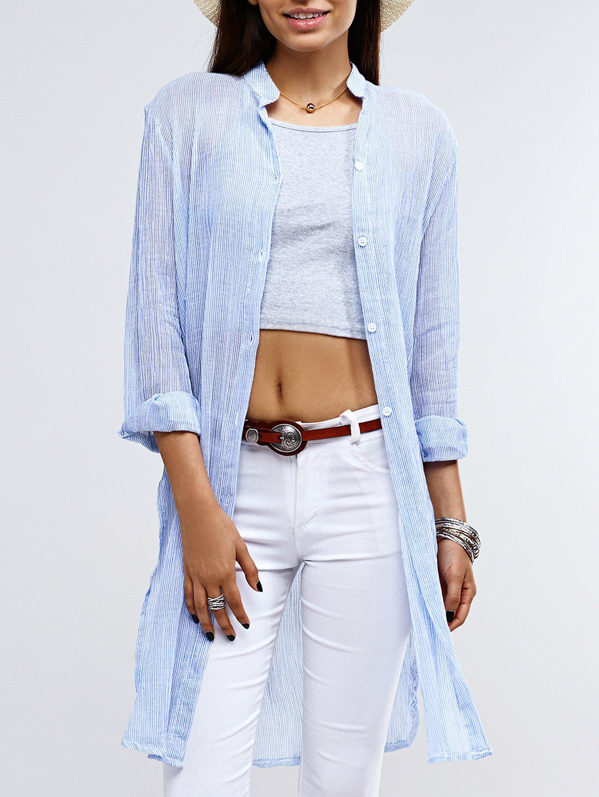 Fashionable Women's Stand Collar Striped Shirt - BLUE ONE SIZE(FIT SIZE XS TO M)