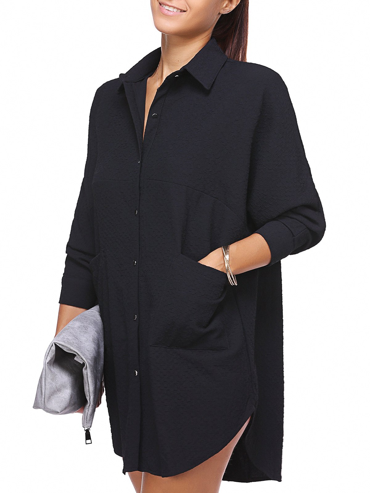 Casual Pure Color Chambray Oversized Shirt Dress For Women