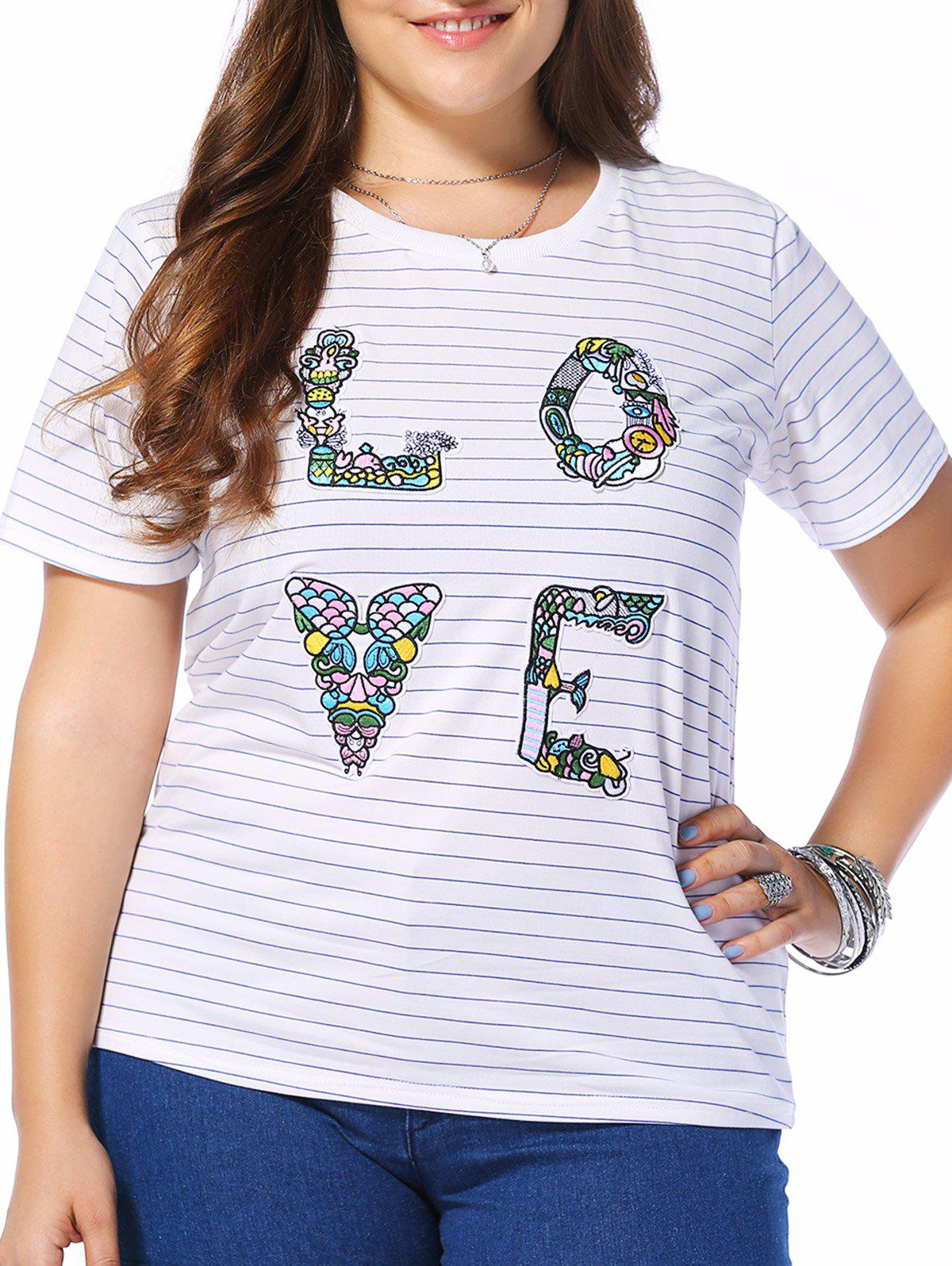 Plus Size Stripe LOVE Graphic Tee - BLUE L