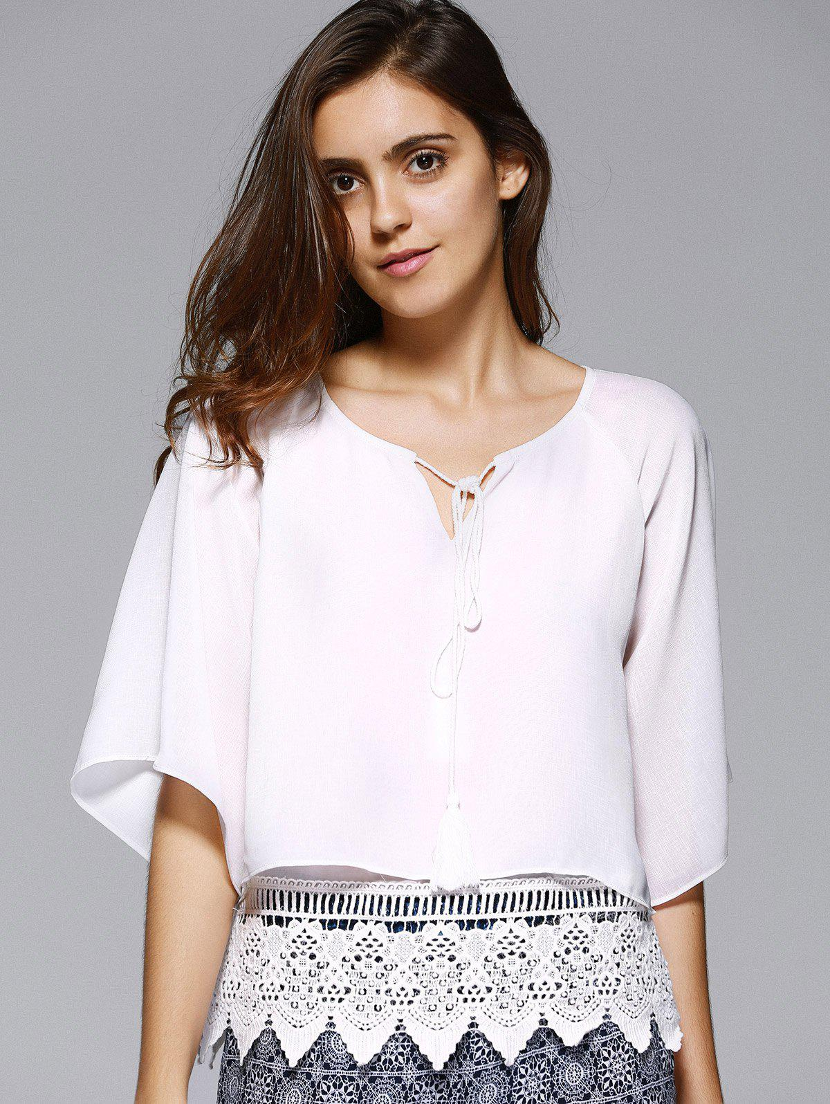 Trendy Round Collar Hollow Out Pure Color Lace Spliced Women's Blouse - WHITE S