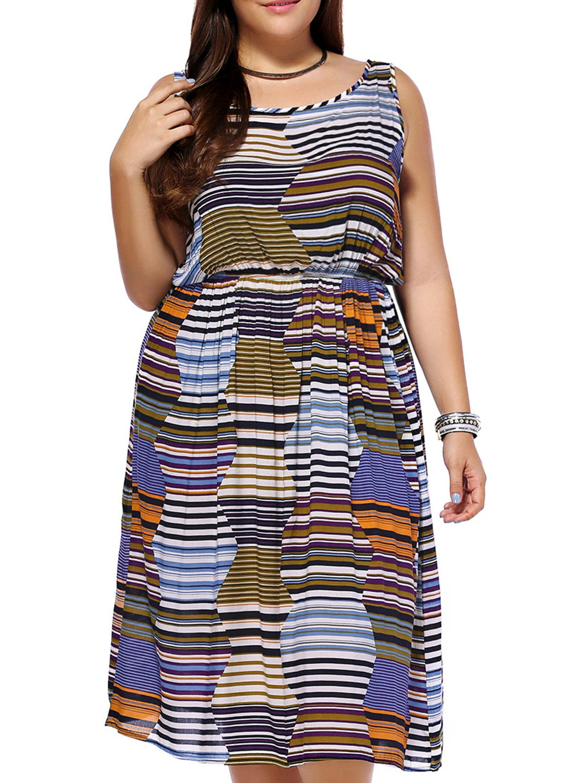 Bohemian Women's Plus Size Sleeveless Color Block Striped Dress