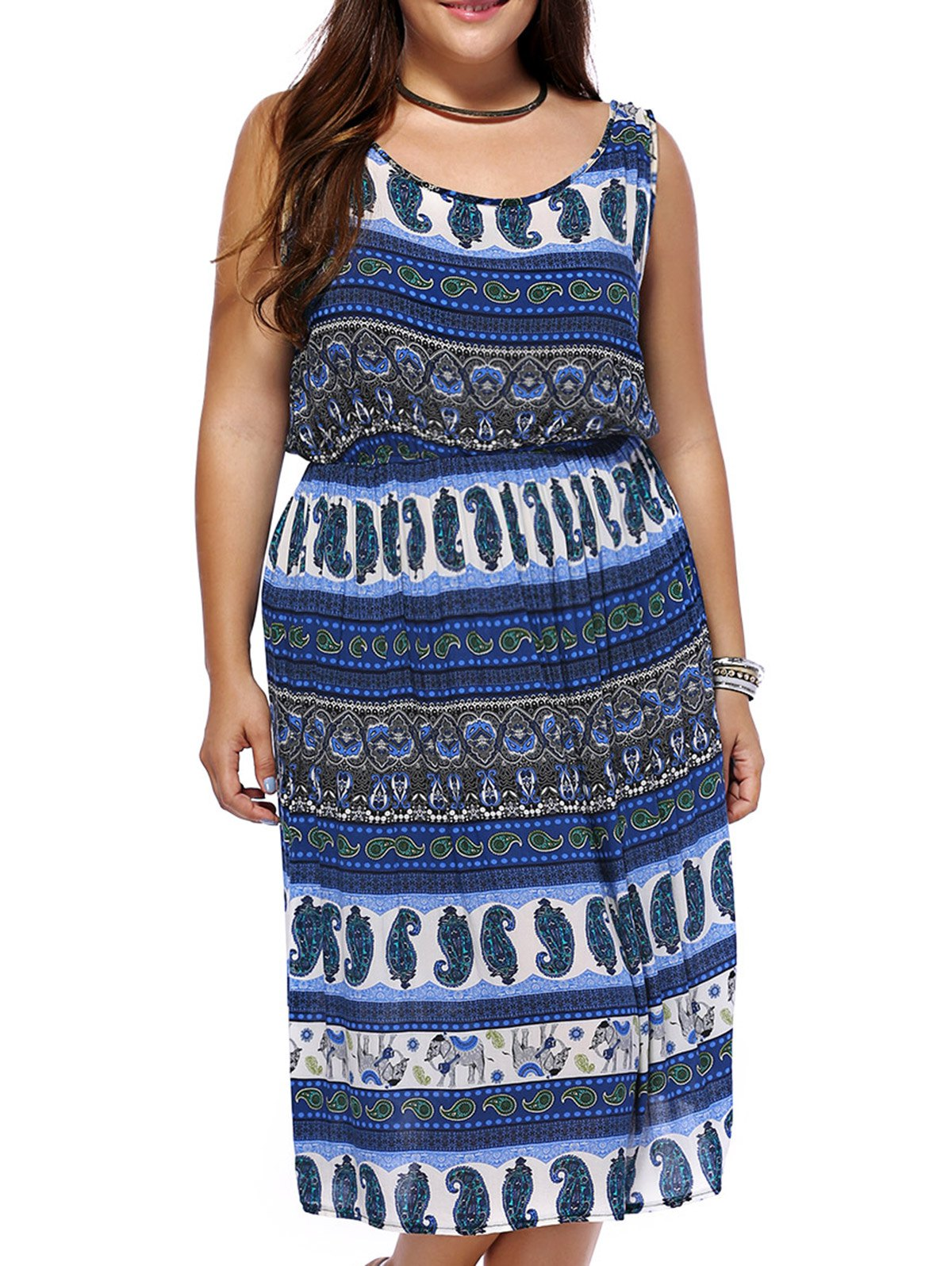 Bohemian Plus Size Full Print Women's Dress - BLUE 3XL