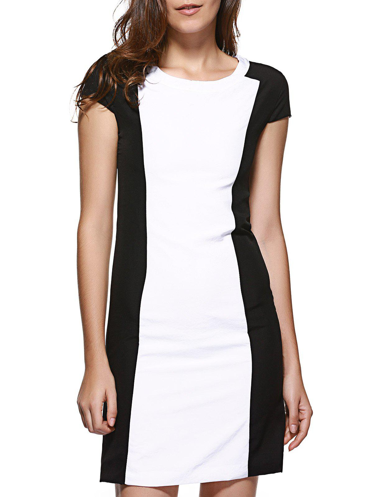 OL Color Block Back Slit Slimming Dress For Women - WHITE M