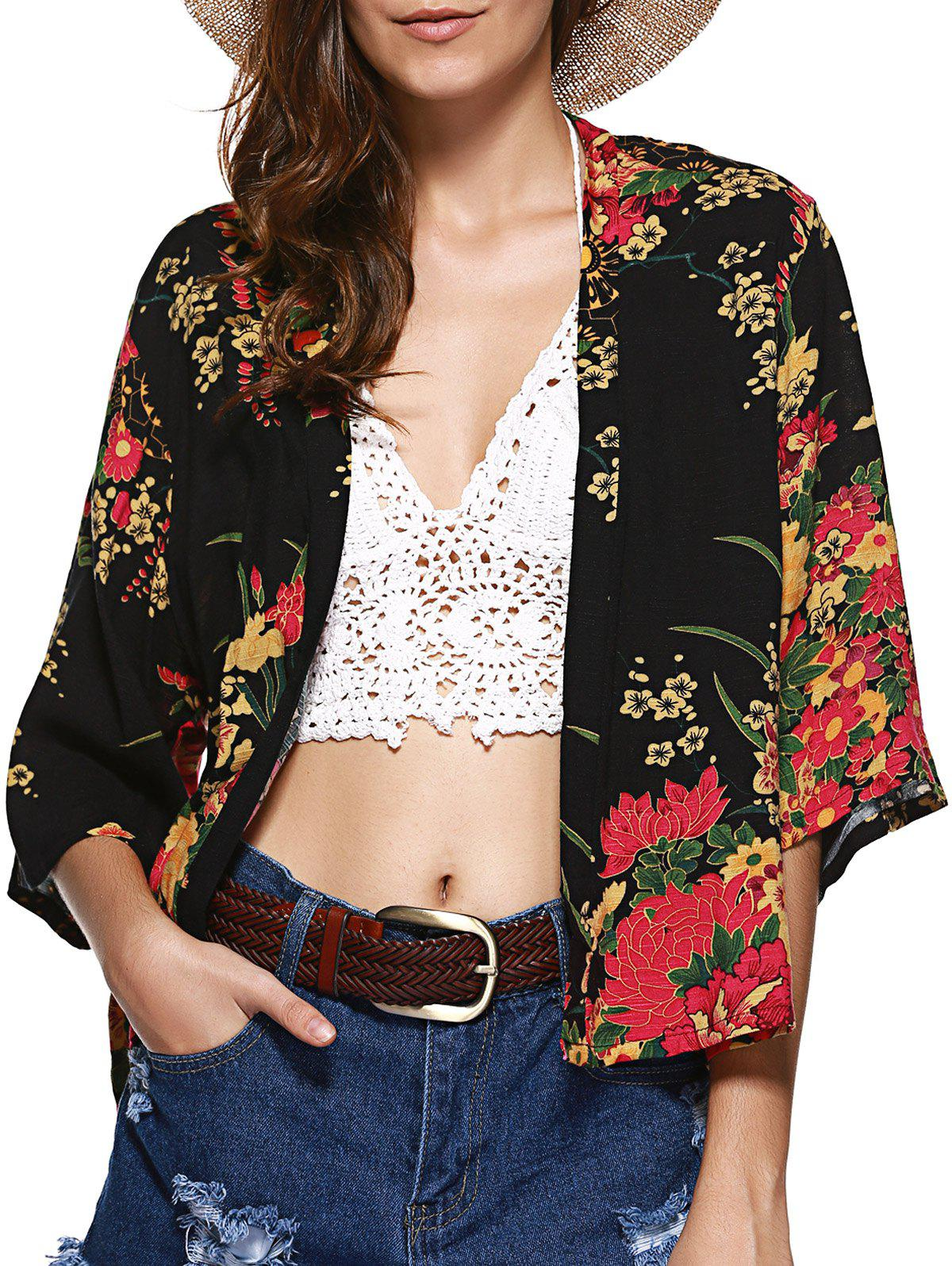 Collarless Floral Short Kimono - COLORMIX L