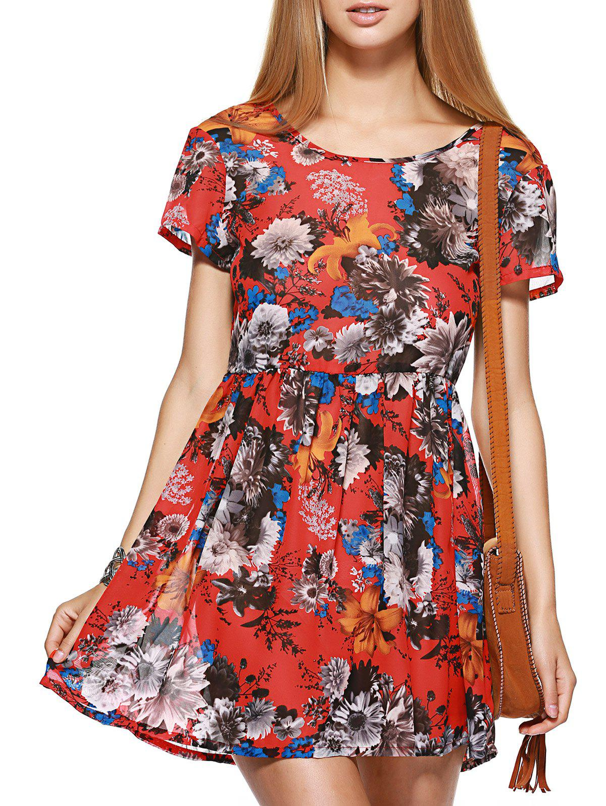 Fashionable Short Sleeve Lace-Up Floral Print Women's Dress - RED L