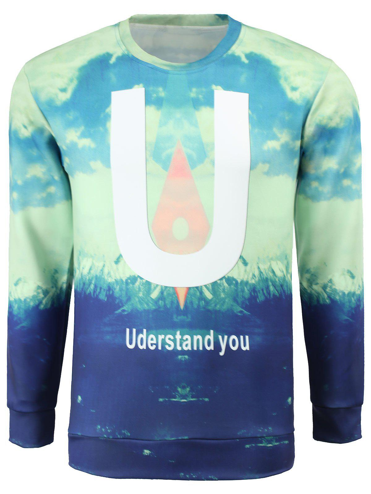Men's Stylish Fleece Round Collar Letters Printed Sweatshirt - LIGHT BLUE M