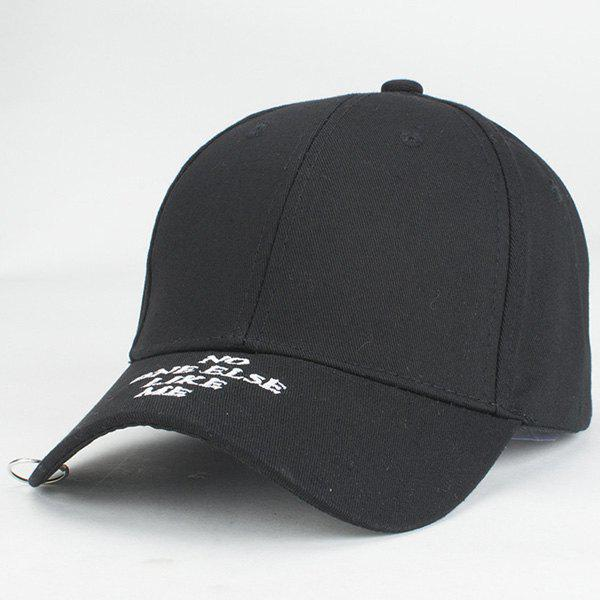 Fashion Iron Hoop White Letter Embroidery Street Dancing Black Baseball Hat - BLACK