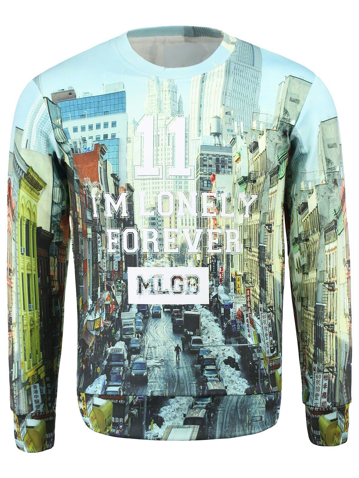 Men's Stylish Fleece Round Collar Letters Printing Sweatshirt - COLORMIX L