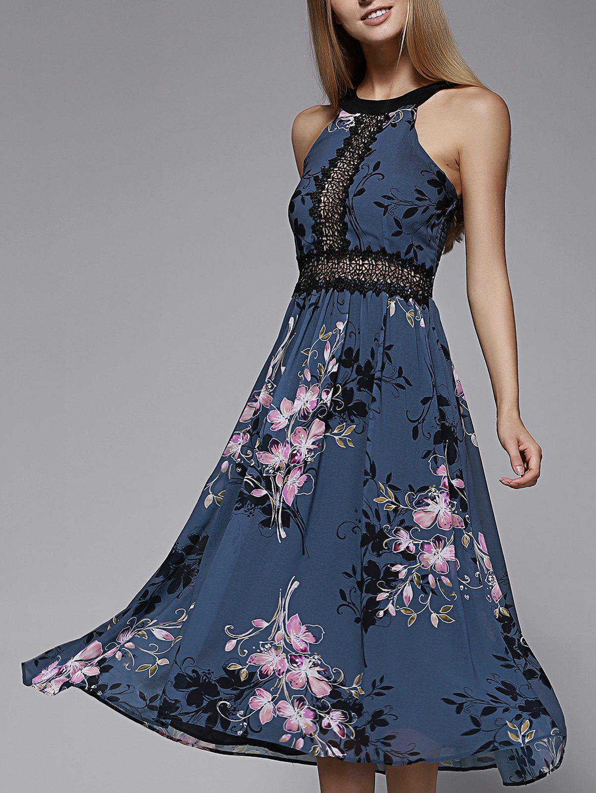 Charming Sleeveless Hollow Out Lace Spliced Floral Print Women's Dress - CADETBLUE L